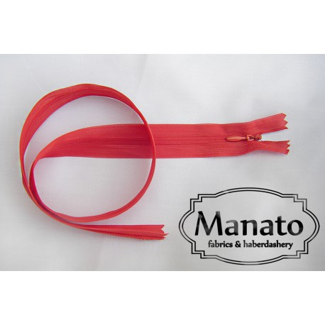 invisible zip - red- length from 18cm to 60cm