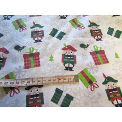 Christmas Nutcracker & silver snowflakes  - 100% Cotton