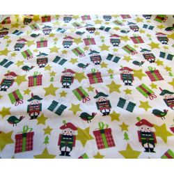 Christmas Nutcracker & gold stars - 100% Cotton