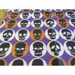 FUNKY SKULLS_PURPLE- 100% Cotton