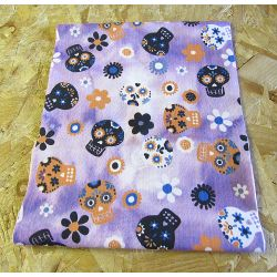 SUGAR SKULLS - purple batik - 100% Cotton