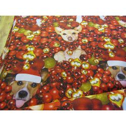 Christmas dogs&baubles - 100% cotton