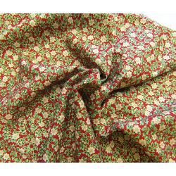 Festive floral metallic red - 100% Cotton