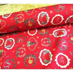 Christmas wreath on red - 100% Cotton