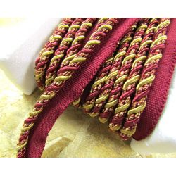 Two-tone upholstery piping cord - burgundy&gold