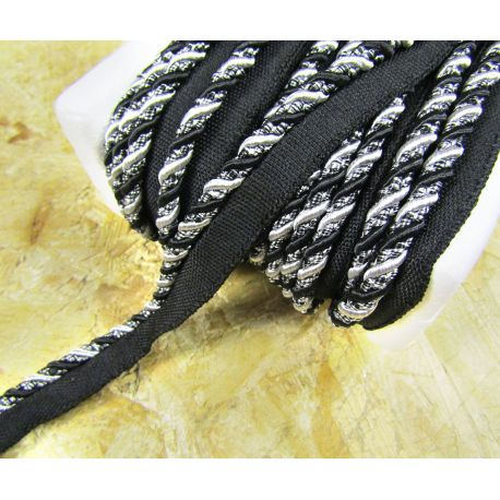 Two-tone upholstery piping cord - black&silver