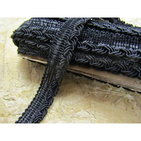 Braided flanged rope - black - 7mm