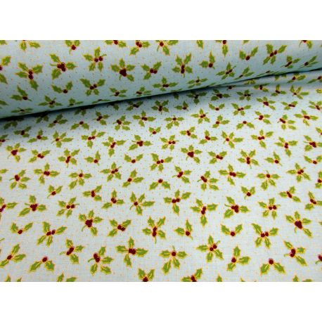 Small Holly Berry metallic turquoise - 100% Cotton