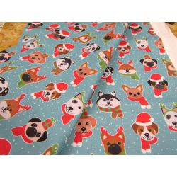 Christmas Dogs on  blue - 100% Cotton