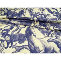 Vintage Enragving Pattern - QUIRKY ANIMALS - heavy weight cotton