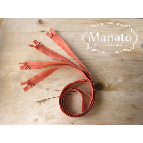 invisible zip -orange brown - length from 22cm to 60cm