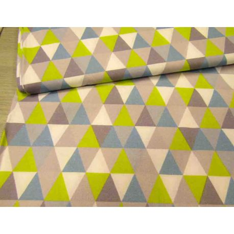 Small Triangles lime-blue-grey  - 100% Cotton
