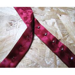 Satin corset Hook and Eye tape - red wine