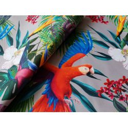 Parrots in Jungle - taupe - Water resistant fabric