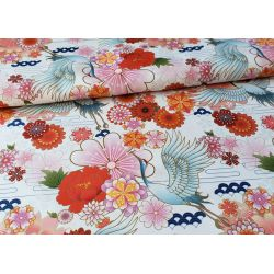Cranes and flowers on white - Water Resistant Fabric