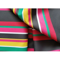 Outdoor water resistant  fabric - Mexican stripe - black