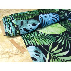 Waterproof fabric - Watercolour Palm Leaves on black- remnant 0.3m