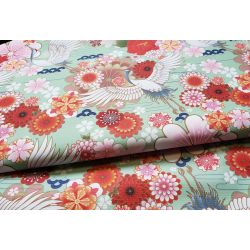 Waterproof Fabric - Cranes and flowers on green- remnant 0.25m