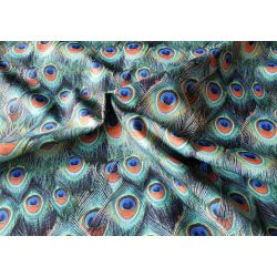 Peacock feather curtain in orange - water resistant fabric
