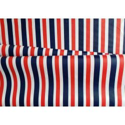 Outdoor 100% waterproof fabric - navy-white- red stripes