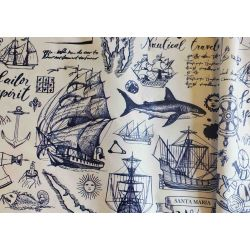 Outdoor 100% waterproof fabric - OLD MAPS - white