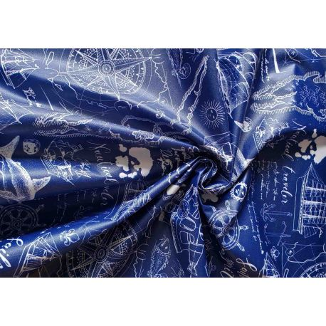 Outdoor 100% waterproof fabric - OLD SEA MAPS - white