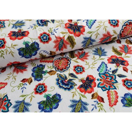 Indian floral - white - Organic cotton single jersey