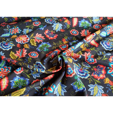 Indian floral - navy - Organic cotton single jersey