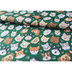 Dogs on green - Water Resistant Fabric