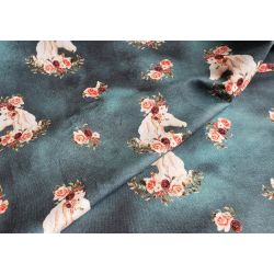 Horse and Roses on Batik Jeans - French Terry jersey