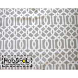 Imperial Trellis pattern  - Grey&White - 100% Cotton