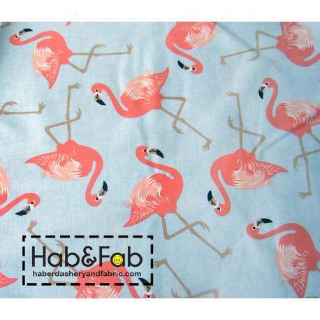 Coral Flamingos on blue background