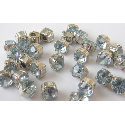 crystal glass buttons - pale blue - small