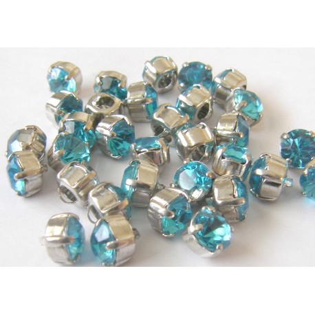 crystal glass buttons - intensive turquise - small