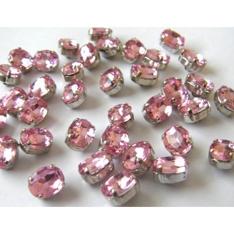 crystal glass buttons - pink - small