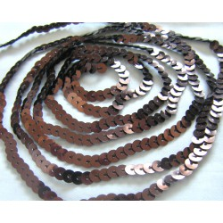 brown strung  flat sequins - 6mm