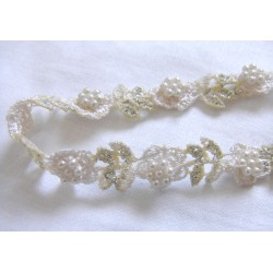 beaded lace  trim - flowers - cream
