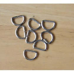 Metal  D ring - 15mm - silver