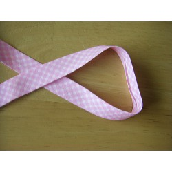 patterned bias binding 18mm  - pink check