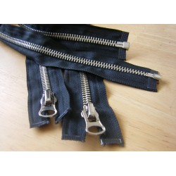 metal zip - black  -Nickel - size 8 - 65cm