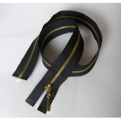 metal zip - size 3- black -55cm - gold