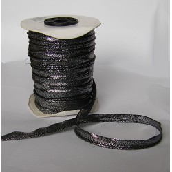 Flanged fabric piping cord - black- silver  brocade