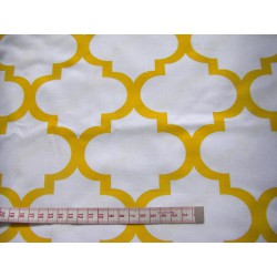 Maroccan Lattice  - Whie&Yellow - 100% Cotton