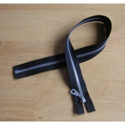 chunky zip - open end - 60cm - black , silver teeth