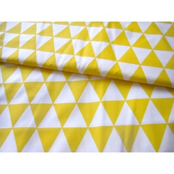 Yellow&White Triangles - 100% Cotton